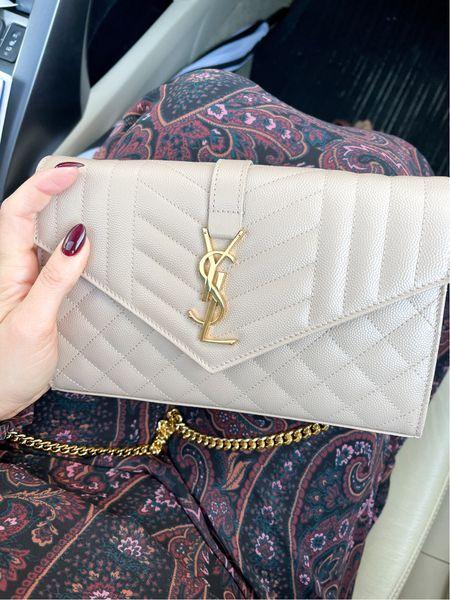 A closer look at this YSL wallet chain bag and dress pattern. Evereve Allison joy and tts  Color of bag is dark beige    #LTKunder100 #LTKitbag #LTKwedding