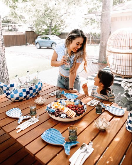 Mackenzie Childs outdoor patio dining decor  Big Blue whale and royal check collection    #LTKsalealert #LTKhome #LTKunder100