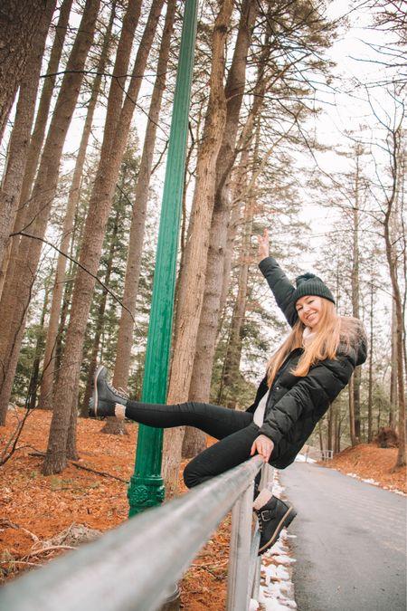 Helly Hansen parka- fits true to size and perfect for even Maine's freezing temps! Target shoes Sherpa boots - fit TTS American Eagle black jeggings - I get the short version, fits tts Old navy cream sweater turtleneck Black beanie with pom pom   http://liketk.it/36AMA #liketkit @liketoknow.it #LTKunder100 #LTKshoecrush #LTKstyletip