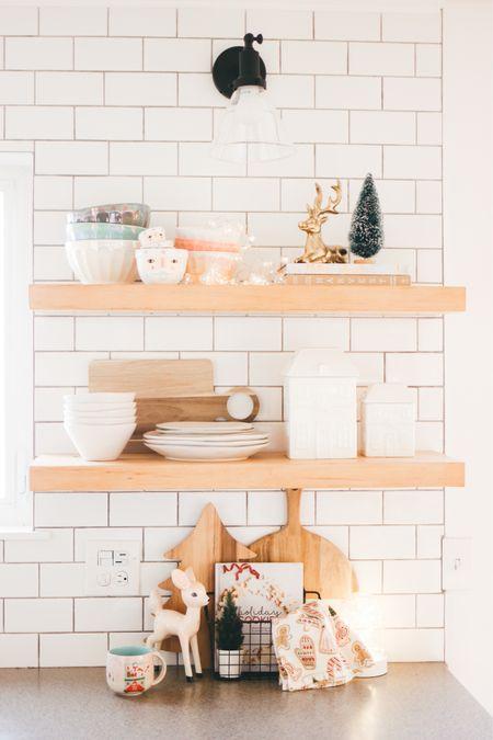 Holiday Kitchen Shelf Styling for Christmas http://liketk.it/32e4H #liketkit @liketoknow.it #LTKhome #StayHomeWithLTK #LTKgiftspo @liketoknow.it.home