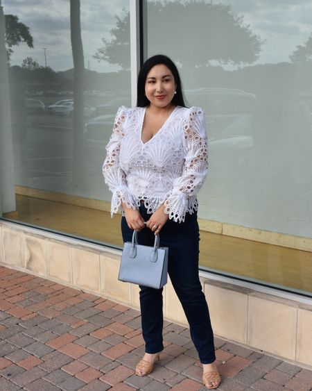 Spring look idea! This peacock lace top is gorgeous! The quality is amazing. Runs TTS but if you are between sizes size up, there's no stretch to it. Denim is high rise. Bag, shoes, and earrings also linked. This designer bag comes in many colors. http://liketk.it/3ghiJ @liketoknow.it #liketkit