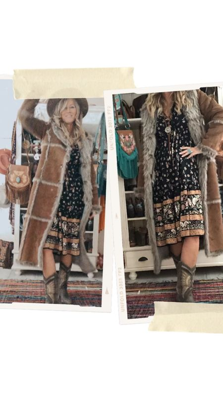 How to get your look autumn ready! 🍂🍁 Added a beautiful vintage coat with this cute boho style dress!  #LTKautumn #bohostyle