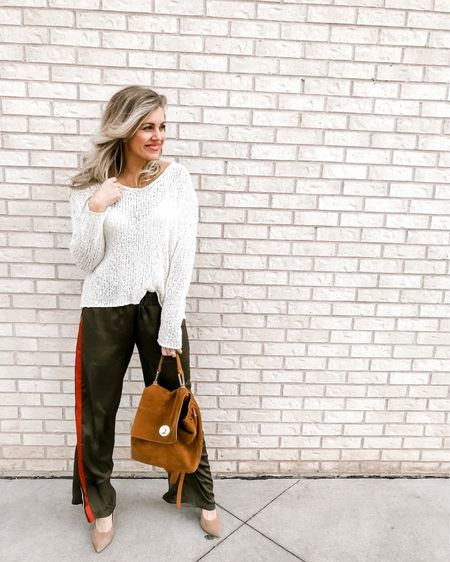 I love this look!! The perfect transition pants with a sweater now and then with a tank in the summer. ☀️ http://liketk.it/2Aqzo #liketkit @liketoknow.it #LTKunder50 #LTKstyletip Shop your screenshot of this pic with the LIKEtoKNOW.it app