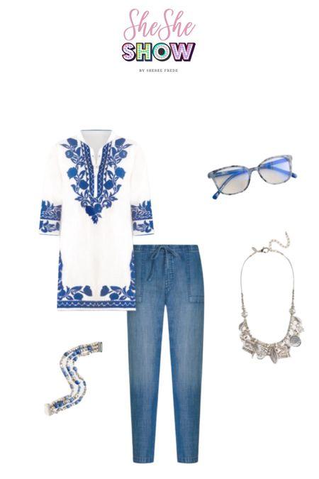 @lovechicos #chicos #tunic #sunglasses #tunic #embroideredtunic #statementjewelry #sunglasses #jeans #denim #bracelets #necklace