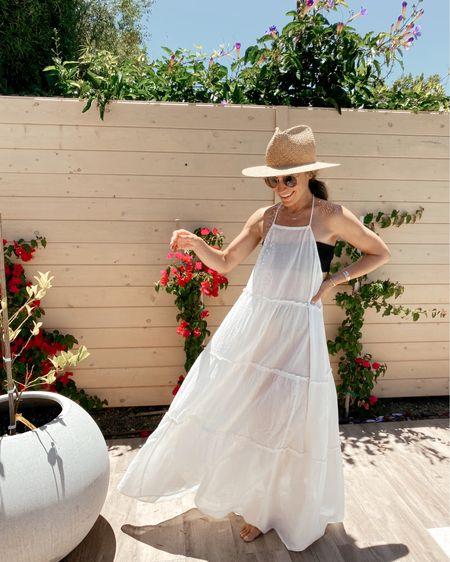 Sheer white flowy coverup dress (on sale; sized down) //   #LTKstyletip #LTKsalealert #LTKswim