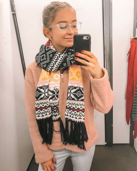 I love this Fair Isle scarf from Old Navy! It's so thick so it'll be perfect for those cold days! I paired it with a Sherpa pull over and some light wash denim jeans! Old Navy is having a sale of 40% off until 11.20! http://liketk.it/2yhaV #liketkit @liketoknow.it #LTKunder100 #LTKunder50 #LTKstyletip #LTKsalealert