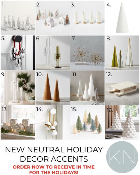 New neutral holiday decor accents — order now to receive in time for the holidays! Home decor Christmas decor bottle brush trees nutcracker nativity set Christmas village Christmas bells  #LTKHoliday #LTKunder50 #LTKSeasonal
