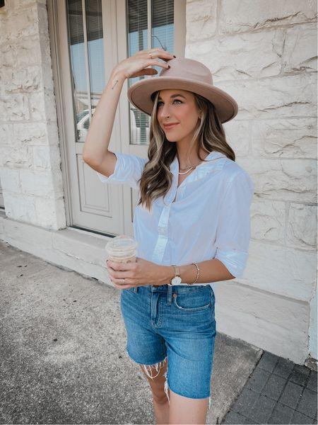 Fall transition outfit  Bermuda shorts  White button up shirt   #LTKSeasonal #LTKunder100 #LTKstyletip
