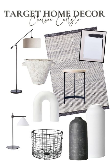 Neutral home decor finds from Target! Shop this room inspo for a black and white room.  |target | target finds | target home decor | home decor | affordable home decor / black home decor | white home decor | vases | lighting | lamps | artwork | wall art | rug | room inspo | living room | home office | bedroom |