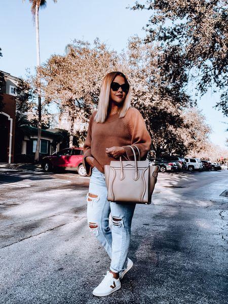 Sweater, mom jeans, straight jeans, veja sneakers, Celine bag, oversized sunnies, stud earrings   #LTKsalealert #LTKSeasonal #LTKSale