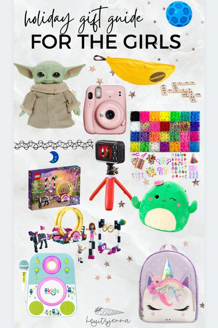 A gift guide for the girls  Kid-approved Christmas and holiday gifts  Presents for kids Instant camera Karaoke machine Squishy and fidget toys! Pop its and baby yoda LEGO friends Toys for kids Stocking stuffers   #LTKHoliday #LTKGiftGuide #LTKkids