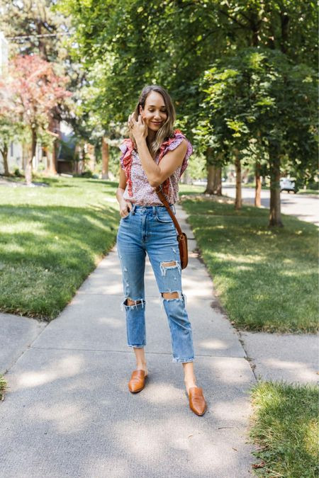 Ruffle top and mom jeans outfit, perfect workwear outfit   #LTKunder100 #LTKworkwear #LTKshoecrush