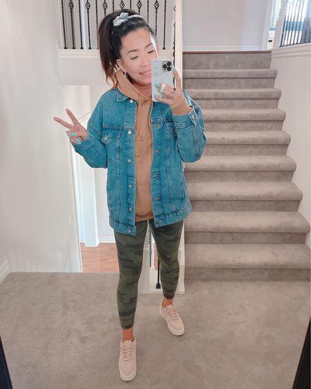 My fave oversized jean jacket. True to size. Camel hoodie,  Nike sneakers, camo leggings  http://liketk.it/3dPRs #liketkit @liketoknow.it #LTKunder50 #LTKstyletip