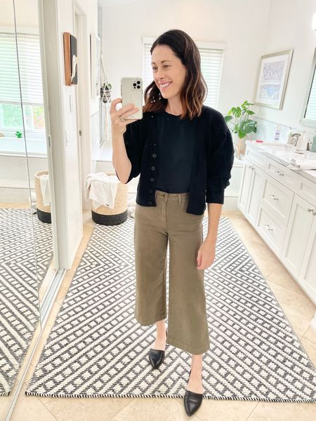 ABLE Irene cardigan and Able - TTS if fuller busted or size down if small busted. Code ARTINTHEFIND25 for 25% off ends this week   Pants - thread and.seed code ARTINTHEFIND10 for 10% off  D'ORSAY flats Jenni Kayne - true to size