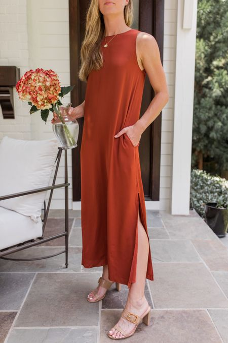 This satin tank dress is such a beauty, and it's the perfect piece to wear now and into fall. Throw on a knit sweater and boots later; wear it with sandals or heels now. 🍂   Similar tank dresses linked, in case this one sells out! Mine fits true to size.  #nsale #nsaledress #nsaledresses #satindress #falldress #nsaledress nsale dress