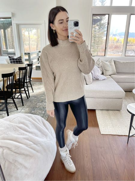F A S H I O N \ another great neutral sweater! Only $28 - wearing a M🤍  #sweater #walmart #walmartfashion #leggings #booties #hikerboot  #LTKunder50 #LTKSeasonal