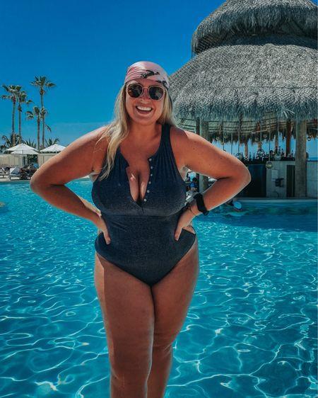 One piece swimsuit, head scarf and rayban sunglasses = perfect resort pool uniform   #LTKcurves #LTKtravel #LTKswim