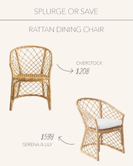 Splurge or Save | Natural rattan handwoven dining chairs to add a coastal feel   #LTKstyletip #LTKhome #LTKSeasonal