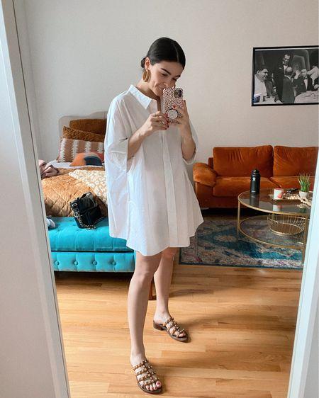 @liketoknow.it http://liketk.it/3g4FB #liketkit  Poplin dress Shirt dress Breezy dress Summer dress Raffia Earrings Statement earrings Sandals Statement sandal  #LTKshoecrush #LTKstyletip #LTKunder100