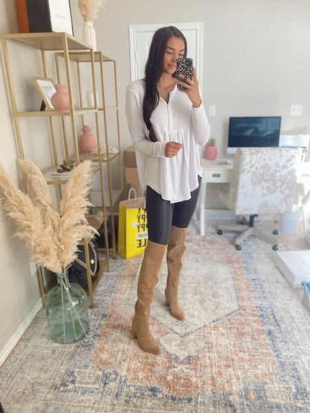 S in top and bottom, 8 in boots  Nsale, Nordstrom sale, over the knee boots, tall boots, spanx leggings, leather leggings, henley free people top  #LTKsalealert #LTKshoecrush #LTKstyletip