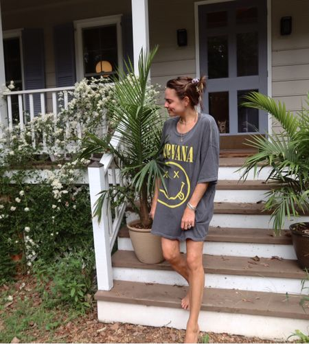 Nirvana T-shirt. Oversized graphic T-shirt. Labor Day weekend style. LDW style. T-shirt dress. Urban Outfitters T-shirt. #competition   #LTKunder50 #LTKSeasonal #LTKstyletip