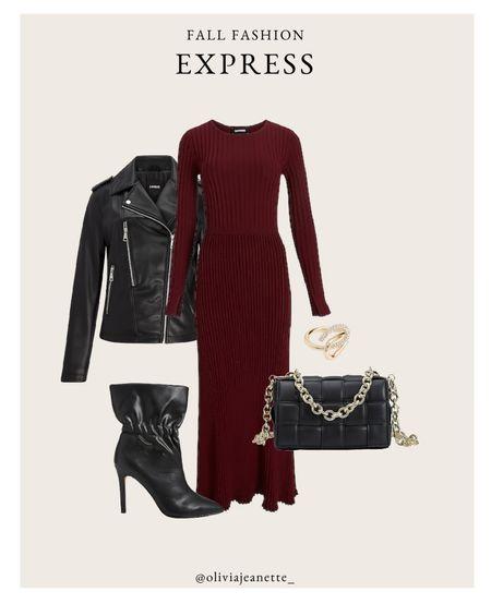 Head to toe Express look with my new favorite midi dress. 🍂 #ExpressPartner #ExpressYou  Date night look, edgy, leather jacket, black boots, dress, black bag, ring  #LTKSeasonal #LTKunder50 #LTKunder100
