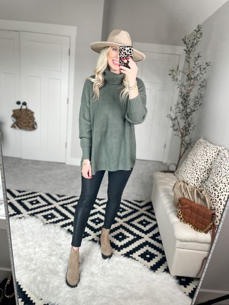 Walmart outfit  Turtleneck tunic- medium  Faux leather leggings- small [size down]  20% off boots with code LTD2146