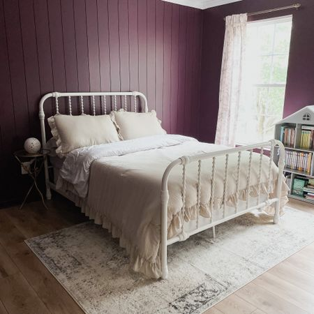 Bedding, duvet, bed, nightstand, girl's room, purple  #LTKbaby #LTKsalealert #LTKhome