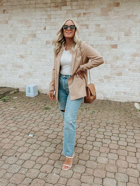 Camel blazer with Abercrombie jeans   #LTKstyletip #LTKunder100 #LTKSale