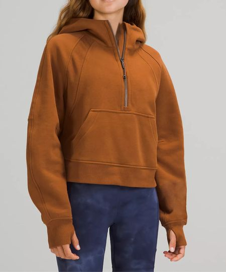 New lululemon alert 🚨 The Scuba Oversized 1/2 Zip Hoodie in Copper Brown   #LTKcurves #LTKfit #LTKbacktoschool