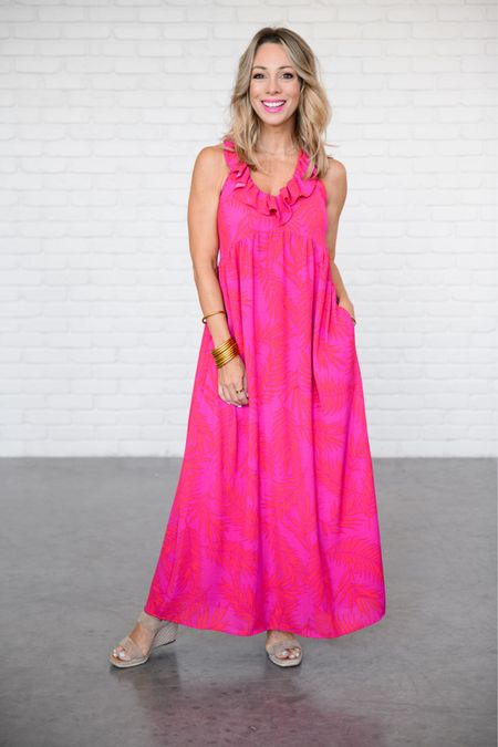 Ruffle Maxi with Wedges   I'm wearing an XXS in this dress.   Use my code, HONEY15 for 15% off    http://liketk.it/3hN19 #liketkit @liketoknow.it #LTKshoecrush #LTKstyletip #LTKwedding