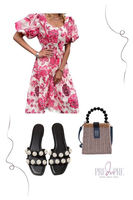 $23 Summer floral dress with puff shoulders and sweetheart neckline. Red and pink toile print.  Affordable clothing, Shein haul.  Great as wedding guest outfit or as garden picnic http://liketk.it/3iFe4 @liketoknow.it #liketkit #LTKsalealert #LTKstyletip #LTKunder50 #LTKunder100 #LTKitbag #LTKwedding #LTKshoecrush #LTKtravel