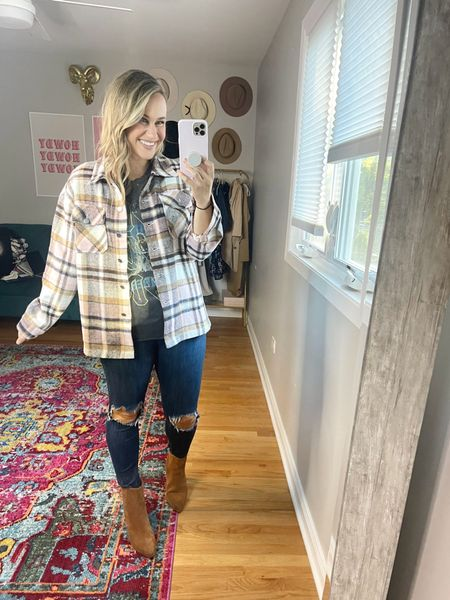 Fall outfits// these boots are everything!! So cute, comfy and well made! Use HATONTHEMAP for 40% off! Also linked my jeans, graphic tee and shacket   #LTKunder100 #LTKshoecrush #LTKsalealert