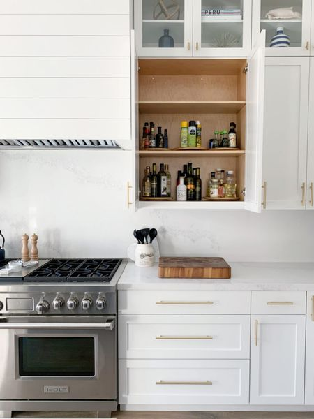 I love these wooden turn tables! #organization #kitchen #kitchenorganization #pantry #pantryorganization #storage  #LTKhome