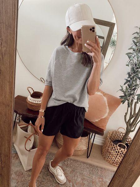 Short sleeve grey sweatshirt is on sale for an extra 30% off… super comfortable for summer and cooler months as well… wearing my regular size. //   #LTKunder50 #LTKstyletip #LTKsalealert