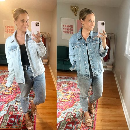 Jean jackets on sale for $20!!! Also linked my mom jeans they are on sale! Linked my bodysuit and sandals both are amazon finds and my turquoise earrings are Etsy!   #LTKsalealert #LTKshoecrush #LTKunder50