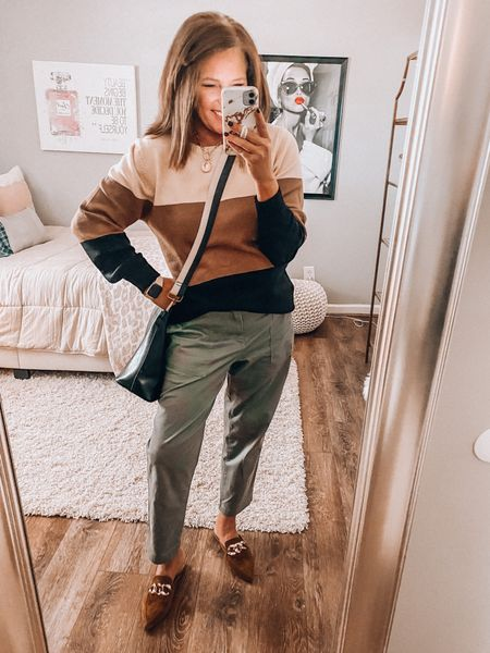 Twill ankle pants with the best wearing sweater from Amazon and Steve Madden chain mules. Madewell transport   Fall outfit, Amazon fashion, Target style, fall, everyday outfit, mules, handbags #ltkfall #founditonamazon  #LTKunder50 #LTKshoecrush #LTKsalealert