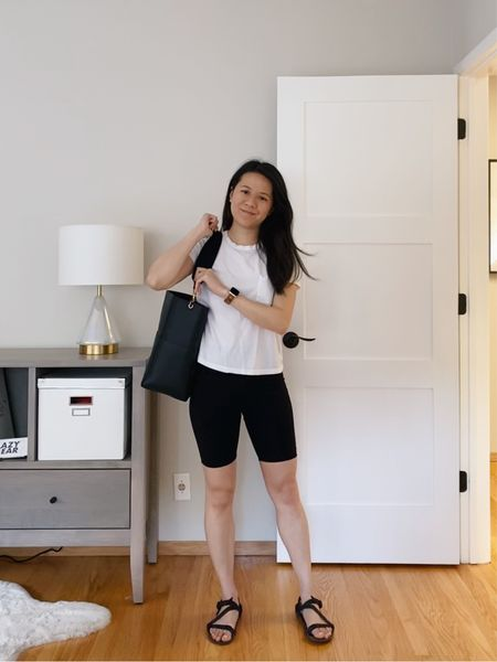 Can't believe that dad sandals and sport sandals are a trend - but I'm here for it!  Biker shorts outfit with a classic white tee, Celine Seau Sangle bag, and Xero sandals.  #LTKunder100 #LTKitbag #LTKSeasonal