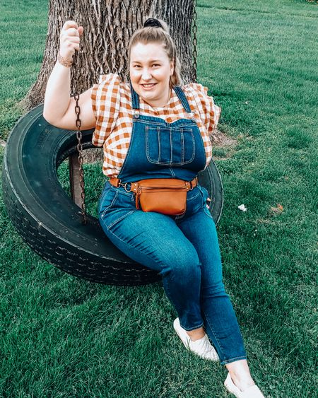 Found THE cutest cognac checkered blouse with ruffled sleeves... And I absolutely love it with overalls. I threw on some slip-on sneakers because they're my go-to shoe when running around with my kids, but I think this would look amazing with some matching cognac mules, loafers or booties, what do you think? I linked these overalls as well as some maternity options! 😉 -  @liketoknow.it #liketkit #LTKSeasonal #LTKsalealert #LTKstyletip #LTKunder50 #LTKunder100 #LTKbump #LTKcurves #LTKshoecrush   http://liketk.it/3kGwd