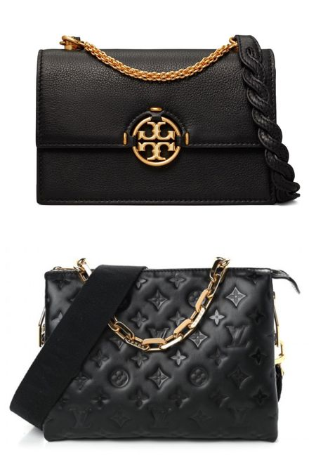 Black crossbody with gold chain detail- splurge & spend options! Tory Burch and Louis Vuitton Coussin bag    #LTKitbag