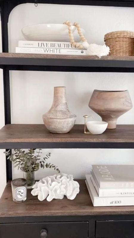Shelf decor, shelf styling tips, neutral home decor, simple home decor, StylinByAylin   #LTKstyletip #LTKhome #LTKunder100