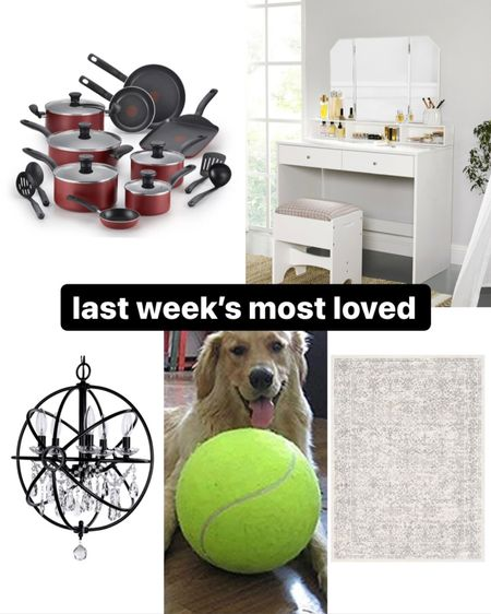 Last week's most loved in home & pets: • red and silver cookware set currently on sale for under $100 • my closet makeup vanity with matching stool and mirror • our master bath chandelier also on sale • Ember's giant tennis ball toy from Amazon prime • our master bedroom area rug from wayfair   #LTKunder100 #LTKhome #LTKbeauty
