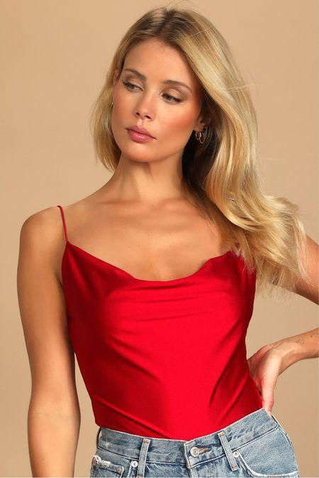 Red satin bodysuit ❤️   #LTKHoliday #LTKSeasonal