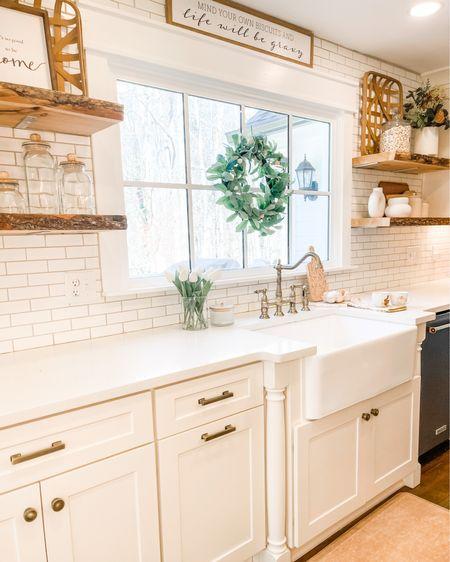 Kitchen decor Farmhouse kitchen Open shelving decor Kitchen sink K http://liketk.it/39Efq #liketkit #LTKSeasonal #LTKhome #LTKunder50 @liketoknow.it @liketoknow.it.home