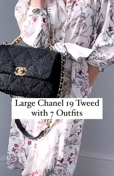 The Chanel 19 bag in medium / large size styled with 7 outfits for inspiration. This beautiful Chanel bag really does go with so many outfits.   #Chanelbag #Chanel19 #Chanelpurse  #LTKSeasonal #LTKstyletip #LTKDay