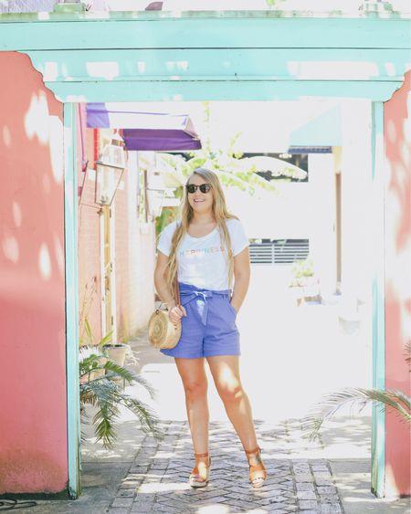 tee and paper bag waist blue shorts from JCPenney paired with straw bag and espadrille wedges.     http://liketk.it/2EK1C #liketkit @liketoknow.it #LTKitbag #LTKstyletip #LTKunder50 #LTKtravel #LTKshoecrush #LTKsalealert