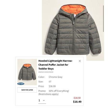 Old Navy Sale! 50 % OFF EVERYTHING!! Little boys puffer coat only $18!   #LTKsalealert #LTKkids #LTKFall