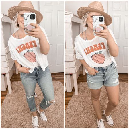 The Pink Lily Boutique, spring style, transition pieces, graphic tee, cropped t shirt, peachy, peachy tee, mom jeans, mom shorts, curvy, petite, Amazon hat, Panama hat  http://liketk.it/2LoPi #liketkit #LTKspring #LTKstyletip #LTKunder50 @liketoknow.it #ltksummer #ltkspringbreak spring looks, spring outfit, summer outfit, beach, spring break.