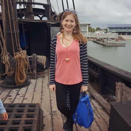 Black and white with a touch of pink and blue 🖤 simple jeans and tee outfit for a fun morning by the harbour with the kids, exploring Notorious, a handmade replica of a 15th century pirate ship 🏴☠️ I marvelled at the tiny sleeping compartments and how people could live on it, the kids just loved the pirate treasure, sword and cannon they had on board 😂 luckily the increasing rolling of the ship let us know rain was coming and we were on the way to the car when it hit!  Kept it simple with this pink Cotton On tee adding a little colour to the black and white striped duster and black Nobody Denim skinny jeans. The Blue nylon Rebecca Minkoff Julian backpack added some extra colour too 💕💙   --------------------- ------------------  ------------- ----------- ------------ -------- -----------------  Screenshot this pic to shop the product details from the @liketoknow.it app, or click here: http://liketk.it/3ehfl #liketkit #RebeccaMinkoff #everydaystyle #everythingLooksBetterWithABag #realeverydaystylepic #RebeccaMinkoffJulian #nobodydenim #jeansandtee #realmumstyle #wearedonthestreet #imonaboat #pirateship #caravel
