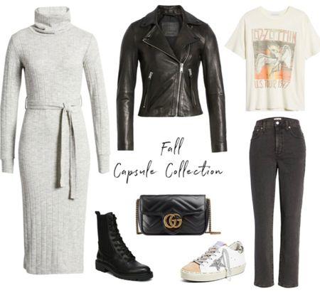 Turtleneck dress, Nordstrom l, leather jacket, Gucci bag, Golden Goose sneakers  #LTKshoecrush #LTKunder100 #LTKitbag